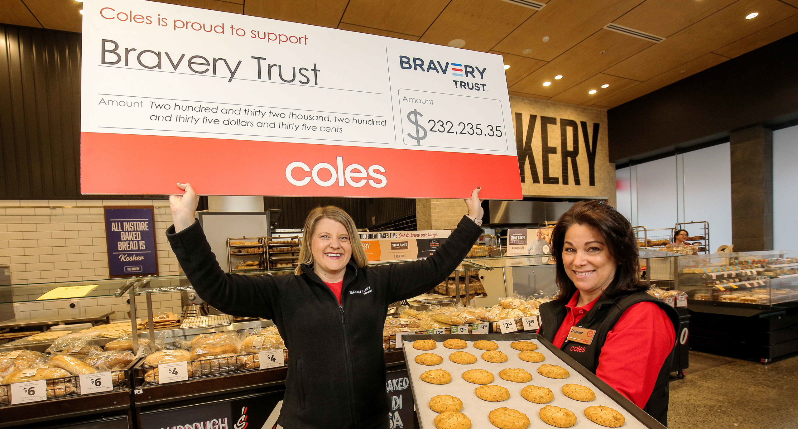 Aussies raise $232,000 in collaboration with Bravery Trust and Coles supermarkets.